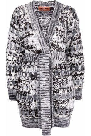Missoni Senhora Camisolas - Zigzag-pattern belted cardigan