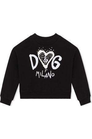 Dolce & Gabbana Menina Camisolas com capuz - Logo-print cotton sweatshirt