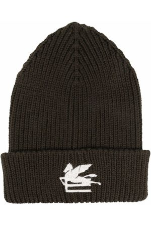 Etro Homem Chapéus - Embroidered-logo knitted beanie