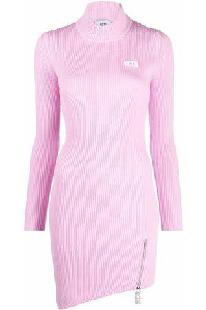 GCDS Ribbed knit asymmetric hem dress