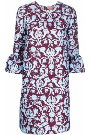 La Doublej Senhora Vestidos Casual - Brocade-print flared-cuff dress