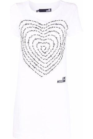 Love Moschino Senhora Vestidos Casual - 3D-heart jersey T-shirt dress