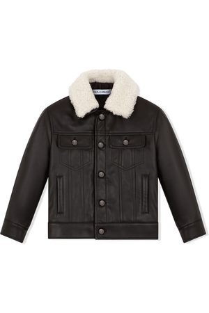 Dolce & Gabbana Kids Contrast-collar leather jacket