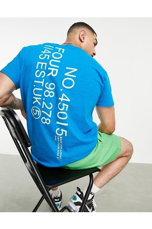ASOS Homem T-shirts & Manga Curta - T-shirt with relaxed fit and back print-Blue
