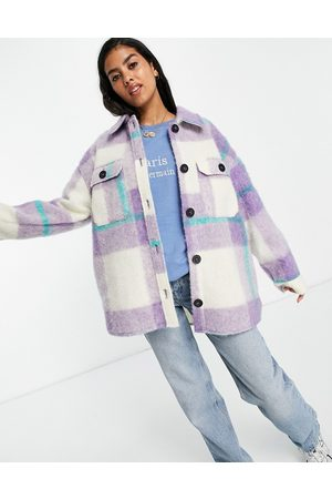 ASOS Senhora Casacos - Oversized check longline shacket in lilac check-Purple