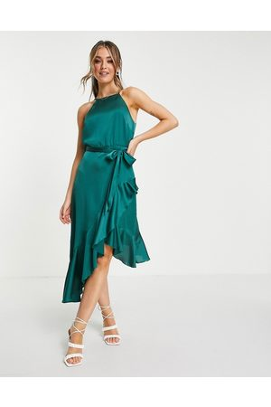 Style Cheat Belted high low ruffle midi dress in emerald green