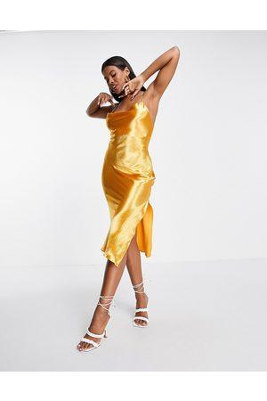 ASOS Cami midi slip dress in high shine satin with lace up back in orange