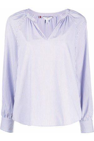 Tommy Hilfiger Drape-detail pinstripe V-neck blouse