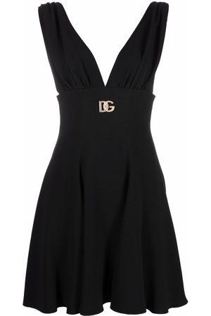 Dolce & Gabbana Logo-plaque V-neck dress