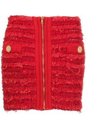 Balmain Senhora Mini-saias - Short high-waist zipped tweed skirt