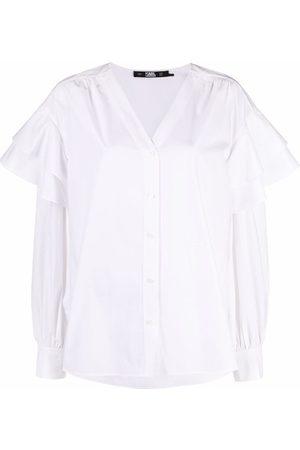 Karl Lagerfeld Senhora Blusas - Ruffled poplin blouse