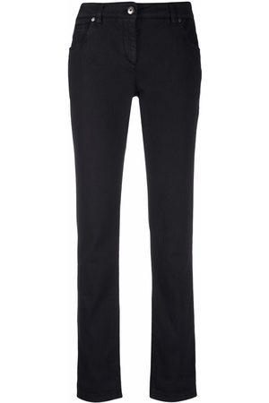 Brunello Cucinelli Senhora Calças - Rolled-edge straight-leg trousers