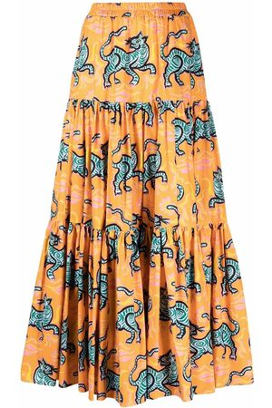 La DoubleJ Senhora Saias Estampadas - Crazy Tigers print skirt