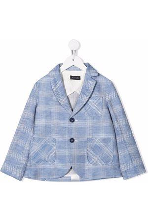 MONNALISA Menino Blazers - Checked linen-blend blazer