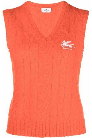 Etro Senhora Tops de Cavas - Cable-knit vest top