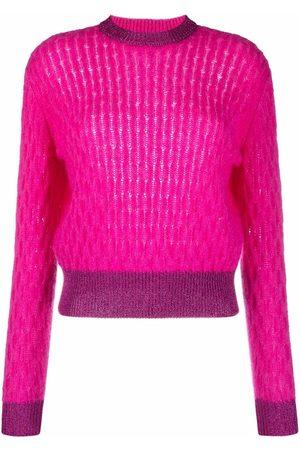 Pinko Senhora Camisolas - Two-tone cable-knit jumper