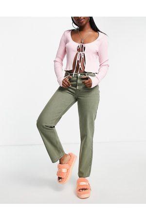 ASOS DESIGN Senhora Retos - Low rise straight leg jean in khaki-Green