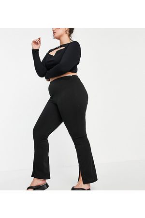 ASOS Curve ASOS DESIGN Curve high waisted stretch skinny trouser with split front in black