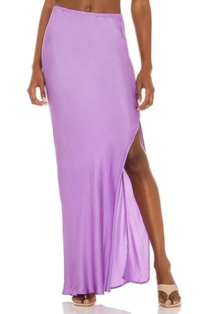 Indah Mint Solid Bias Maxi Skirt in - Purple. Size L (also in S, XS, M).