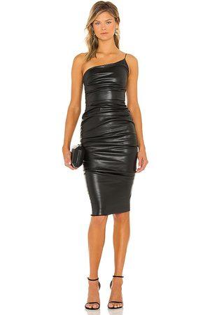 Nookie Rhea Faux Leather Midi Dress in - Black. Size L (also in XS, S, M).