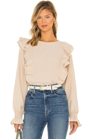 Line & Dot Carly Crinkled Blouse in - Beige. Size L (also in XS, S, M).