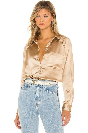 LINE & DOT Dolly Long Sleeve Button Up in - Metallic . Size L (also in XS, S, M).