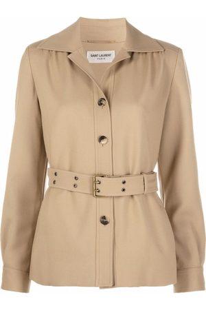 Saint Laurent Senhora Formal - Belted wool shirt jacket