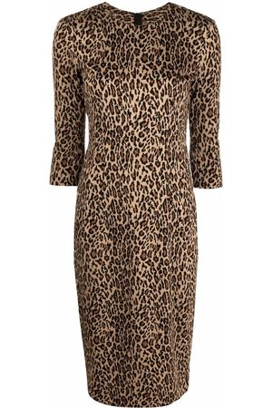 Pinko Senhora Vestidos Casual - Leopard-print round-neck dress