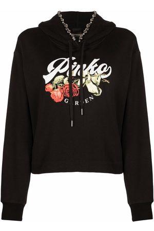 Pinko Senhora Tops de Cavas - Graphic-print drawstring hoodie