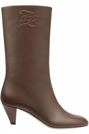 Fendi Senhora Botas - FF Karligraphy-motif boots