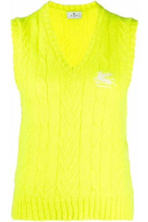 Etro Embroidered-logo cable-knit vest
