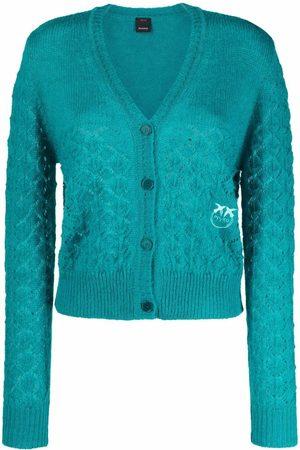 Pinko Senhora Camisolas - Pointelle-knit V-neck cardigan