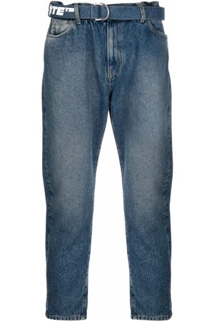 OFF-WHITE Homem Retos - Logo-print belt cropped jeans