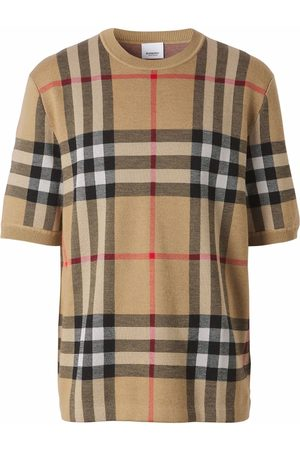 Burberry Homem T-shirts & Manga Curta - Check-print silk-wool T-shirt