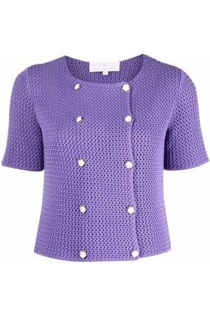 AMI AMALIA Senhora Camisolas - Double breasted waffle knit cardigan