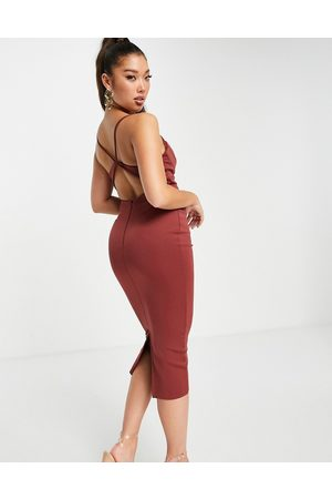 ASOS DESIGN Senhora Vestidos de Festa - Cowl neck strappy back bodycon pencil midi dress in chocolate-Multi