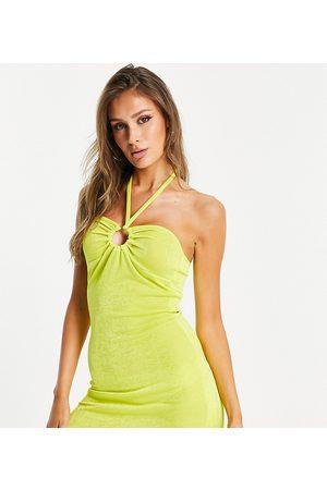 AsYou Senhora Vestidos com Decote Halter - Ring detail halter neck mini dress in green