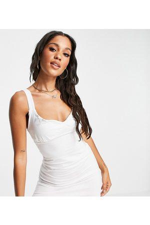 AsYou Senhora Vestidos Casual - Ruched cup mini dress in white-Blue