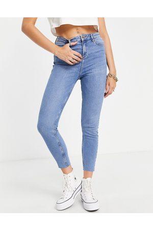 Miss Selfridge Emily high waist ankle grazer skinny jean in midwash blue