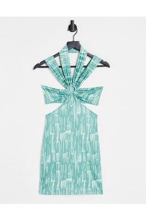 EI8TH HOUR Senhora Vestidos de Festa - Halter neck mini dress with cut out detail in green-Multi
