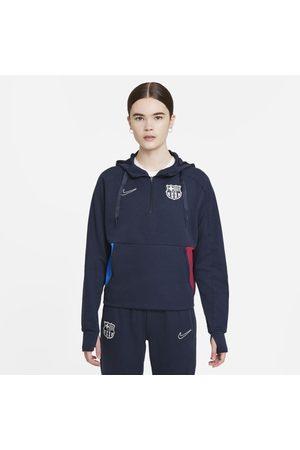 Nike Hoodie de futebol de lã cardada com fecho a 1/4 FC Barcelona para mulher