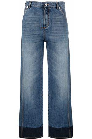 Alexander McQueen Senhora Retos - Two-tone straight-leg jeans