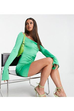 ASOS ASOS DESIGN Tall slinky mini dress with flare sleeve in green