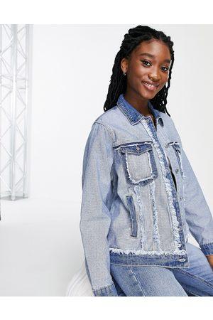 Skylar Rose Senhora Casacos - Oversized distressed denim jacket-Blue