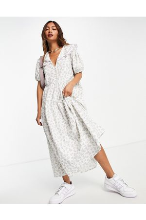 Neon Rose Senhora Vestidos Casual - Midi smock dress with puff sleeves and vintage embroidered collar in ditsy floral-White