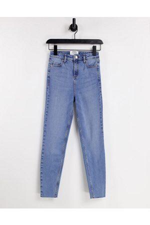 Miss Selfridge Senhora Cintura Subida - Emily Short high waist ankle grazer skinny jean in midwash blue