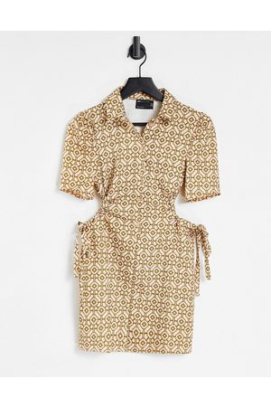 ASOS Short sleeve mini shirt dress with cut outs in tile print-Multi