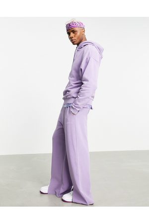 ASOS DESIGN Co-ord wide leg joggers in washed purple with split hem