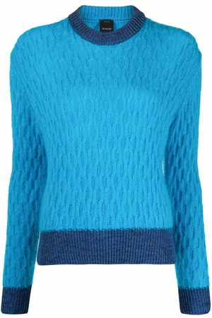 Pinko Senhora Camisolas - Two-toned cable-knit jumper