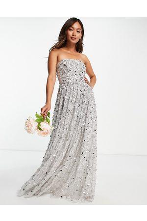 Maya Senhora Vestidos de Festa - Bridesmaid maxi bandeau wedding dress in all over 3D soft grey sequins